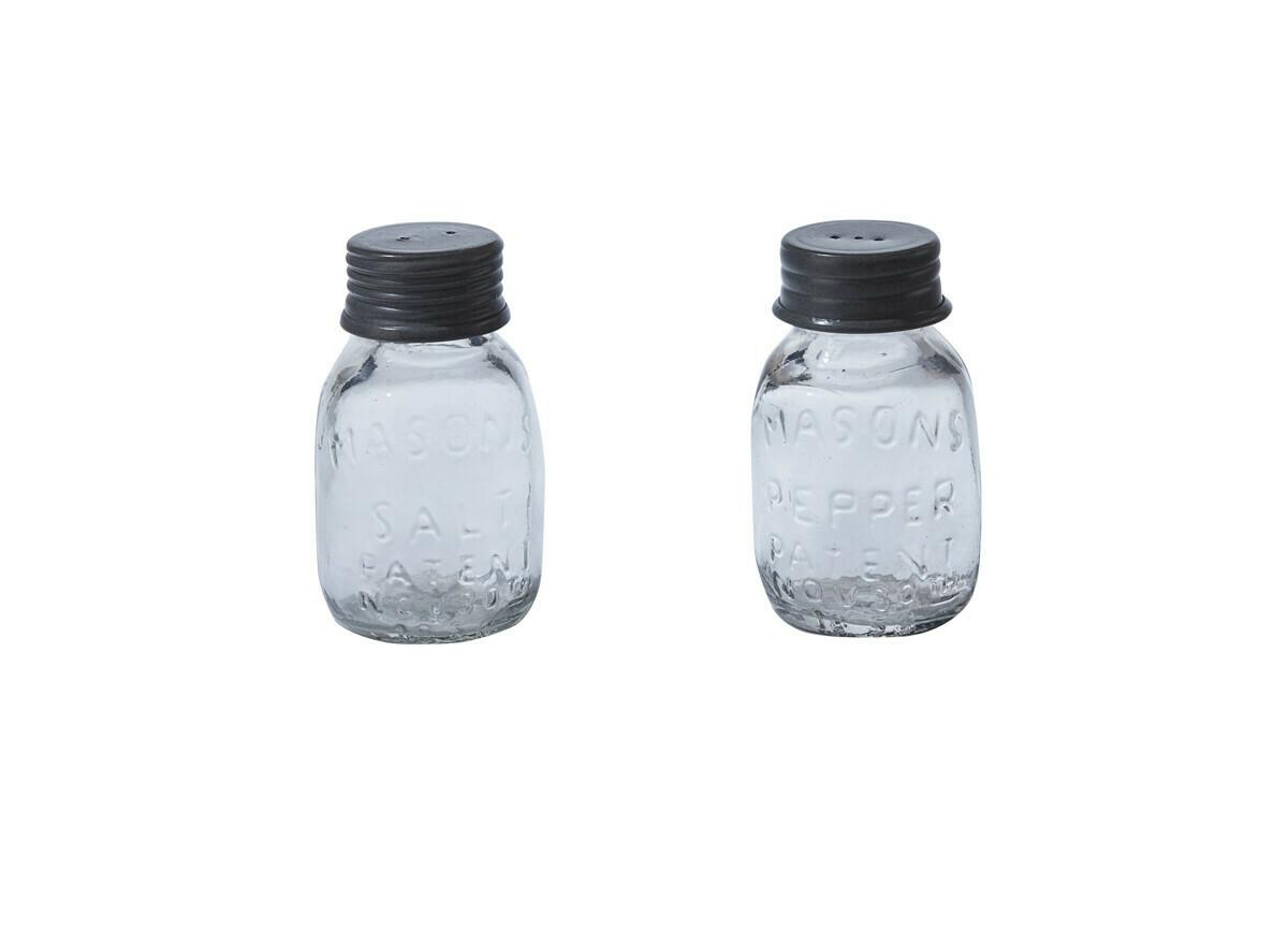 Mason Glass Jar Salt and Pepper Set