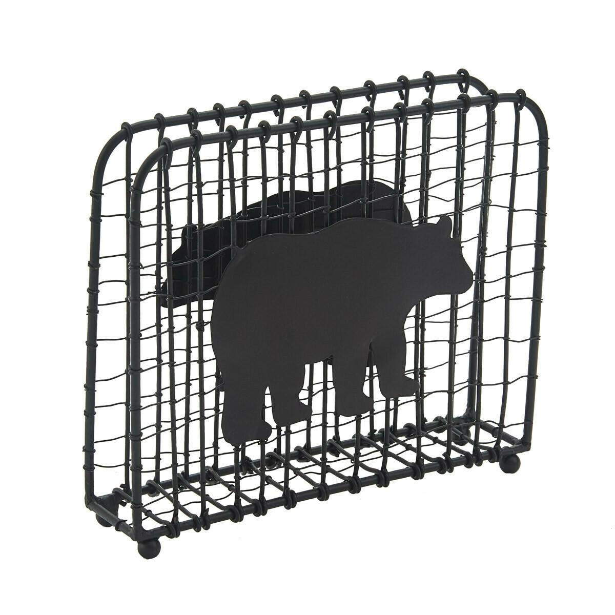 Black Bear Wire Lunch Napkin Holder