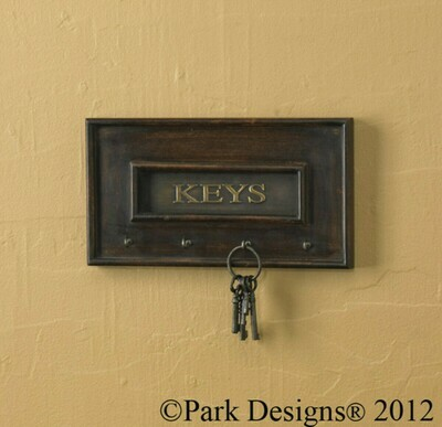 Wood and Brass Key Hook