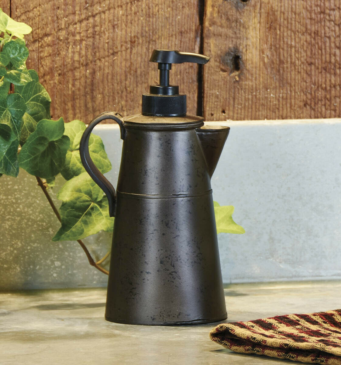 Tin Coffee Pot Soap Dispenser