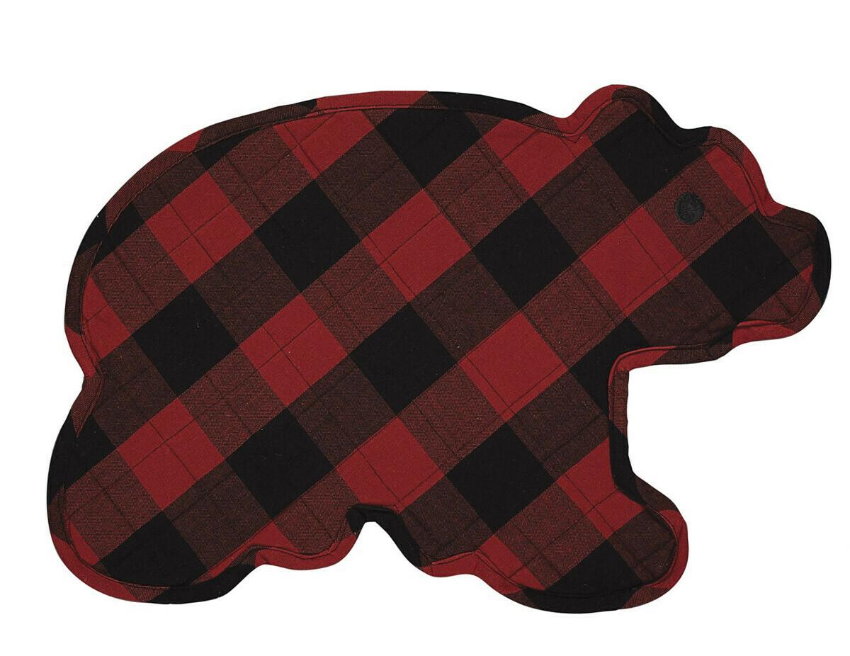 Bear Shaped Buffalo Check Placemat