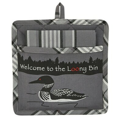 Welcome to the Loony Bin Pocket Potholder/Dish Towel Set