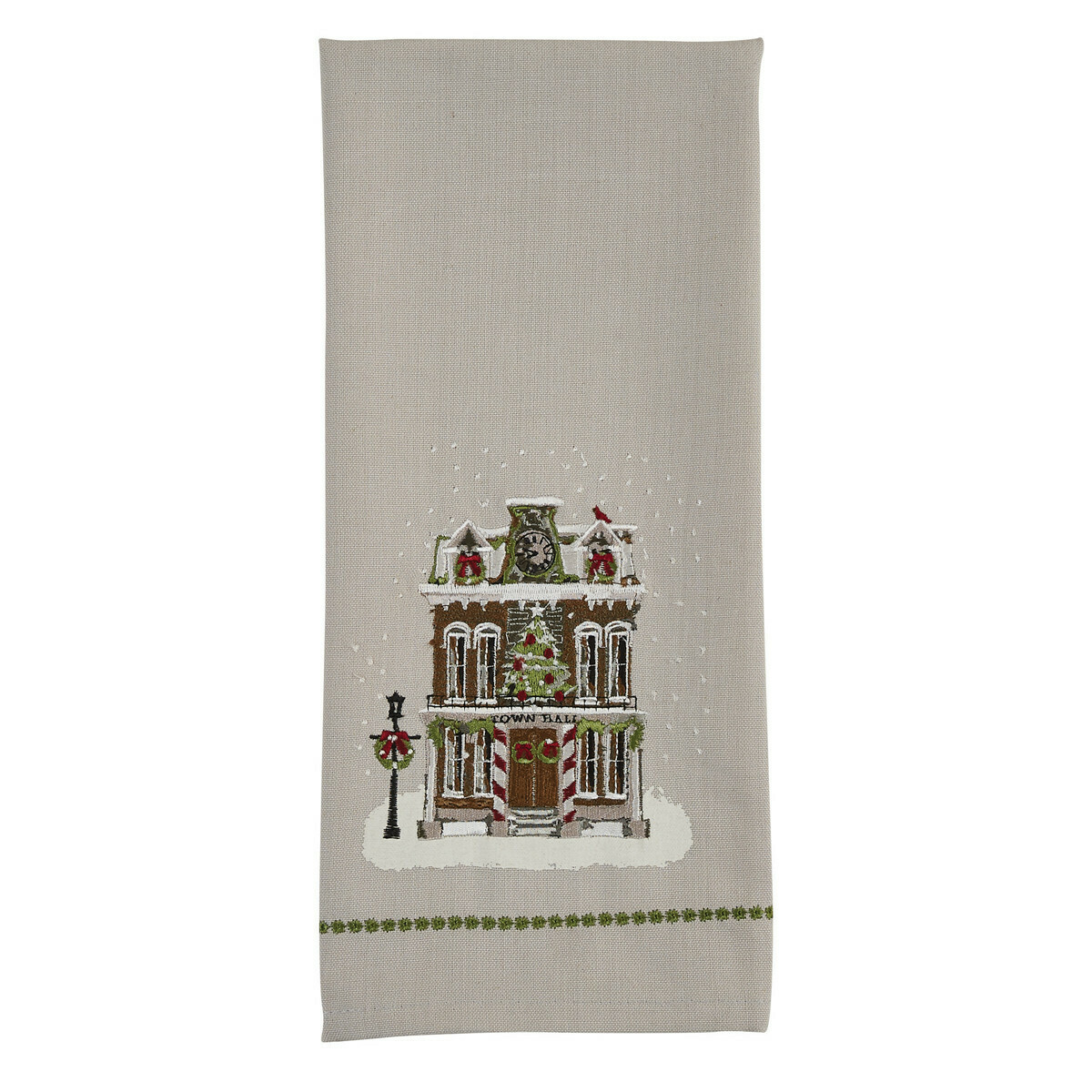Town Hall Printed & Embroidered Dishtowel