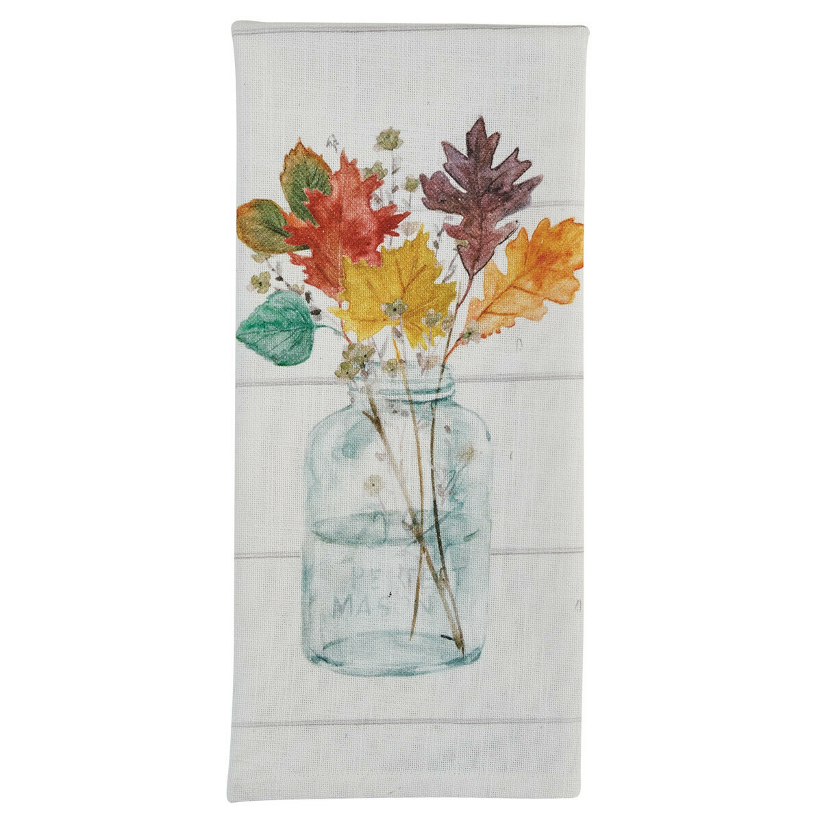 Harvest Home Mason Jar Leaves Dishtowel