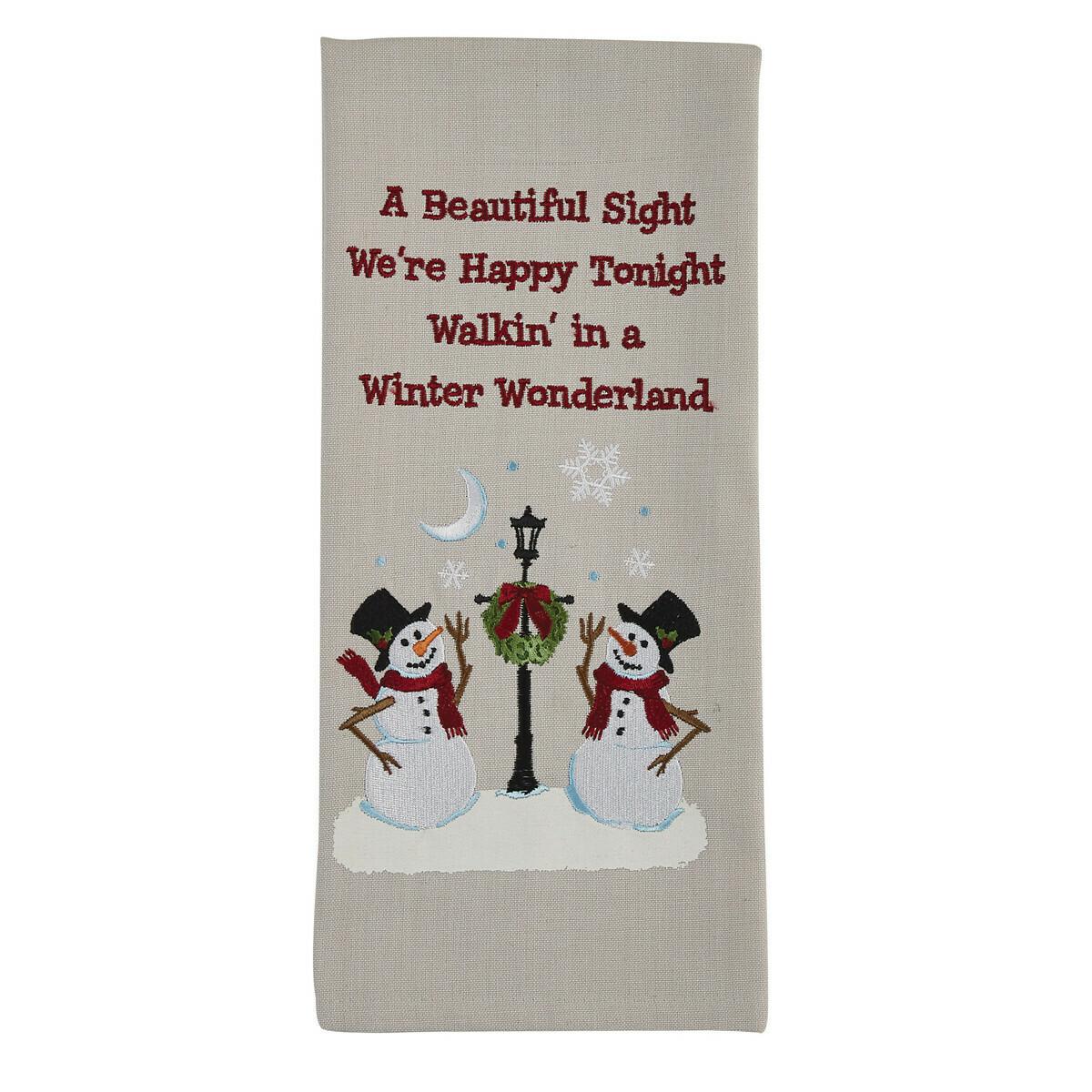 Snowmen and Lamp Post Dishtowel
