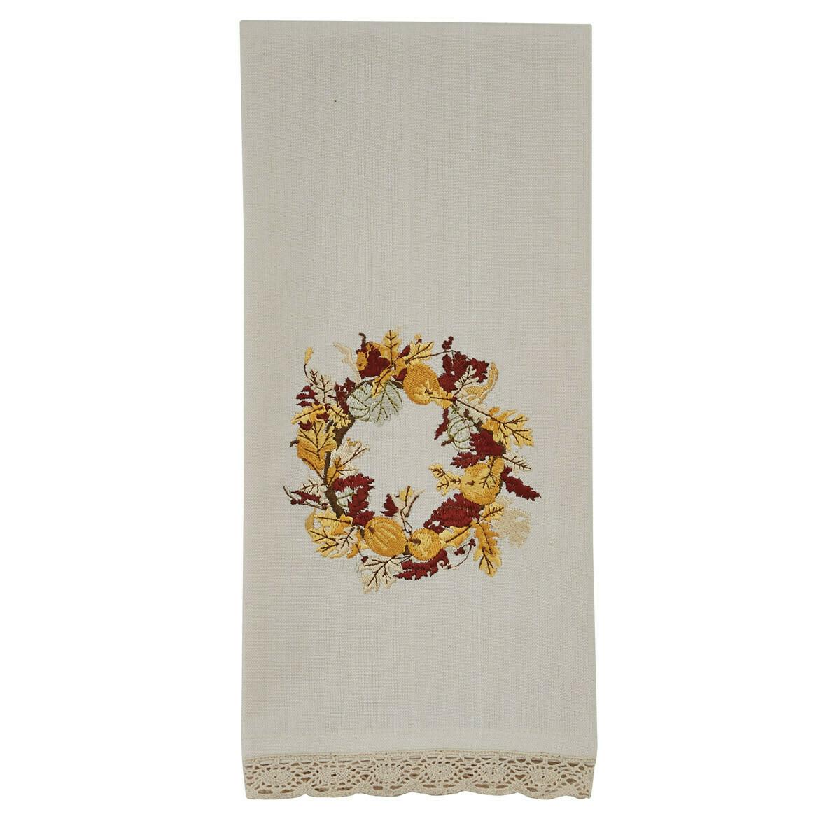 Harvest Wreath Embroidered Dishtowel