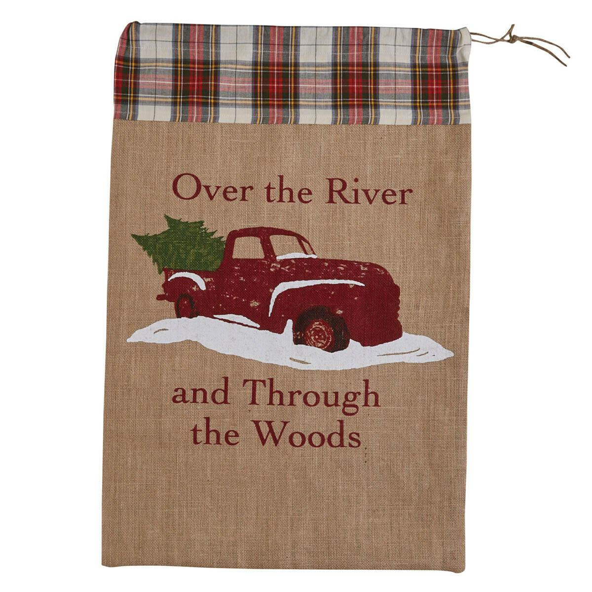 Over the River Print Santa Sack
