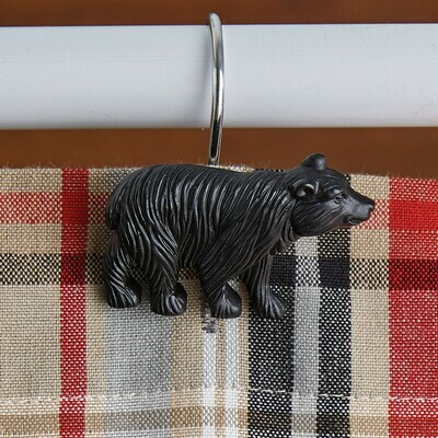 Black Bear Shower Curtain Hooks