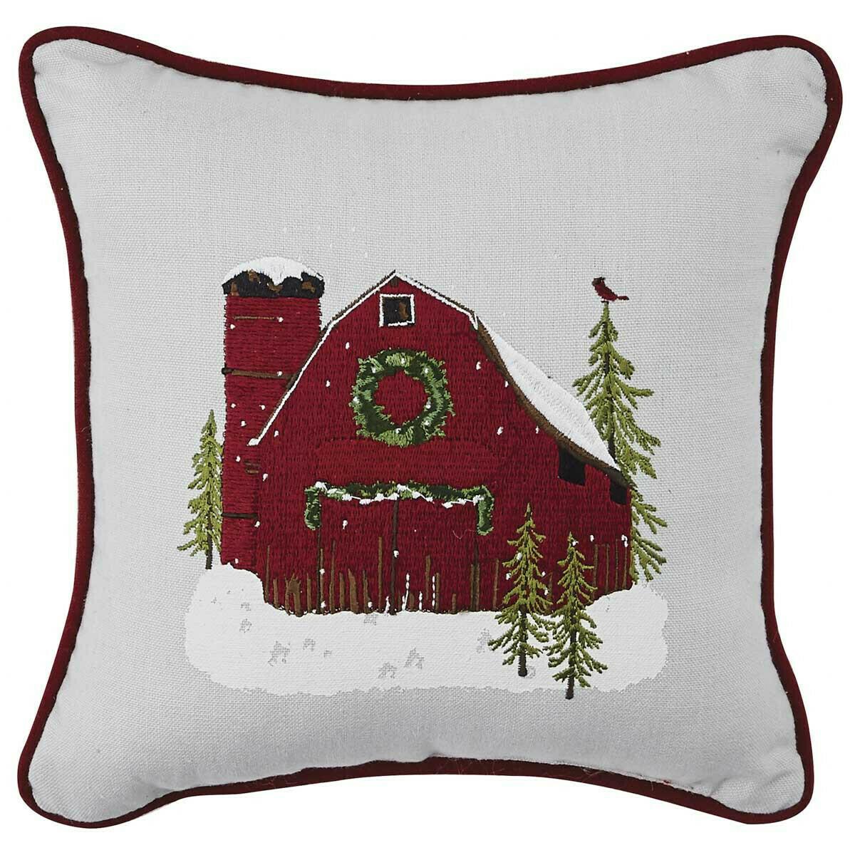 """Barn Christmas 10"""" Pillow"""