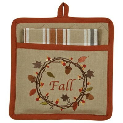 Autumn Wreath Pocket Potholder Set