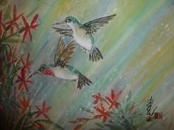Hummingbirds in the Rain