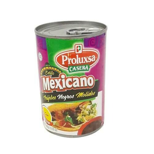 FRIJOLES NEGROS MOLIDOS CON CHORIZO ESTILO MEXICANO PROLUXSA 285g