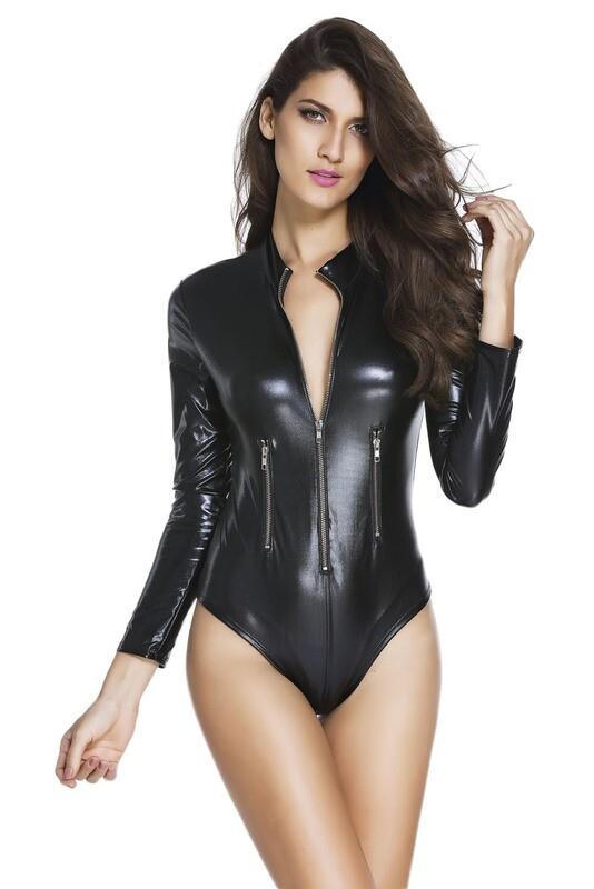 Black Leathery Long Sleeve Zip Detail Bodysuit