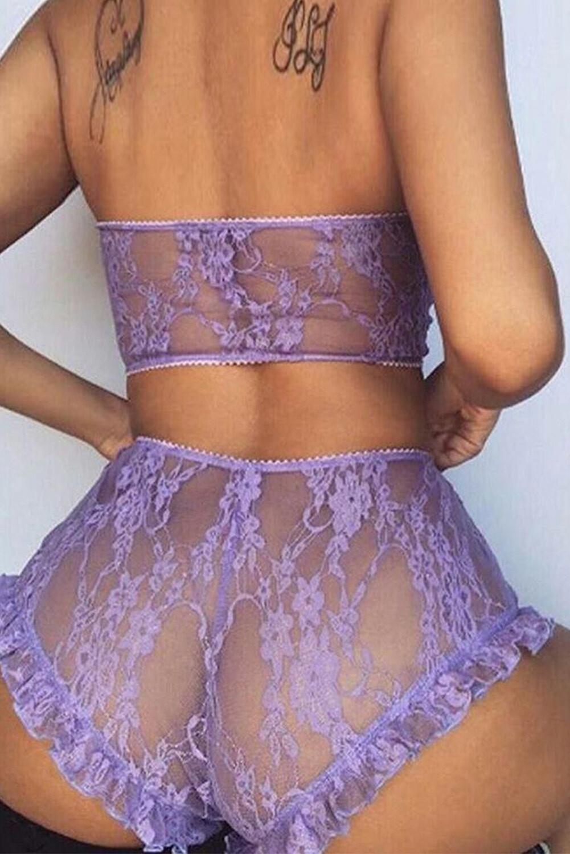 Purple Lace Mesh Print Tube See Through Sleeveless Lingerie Set
