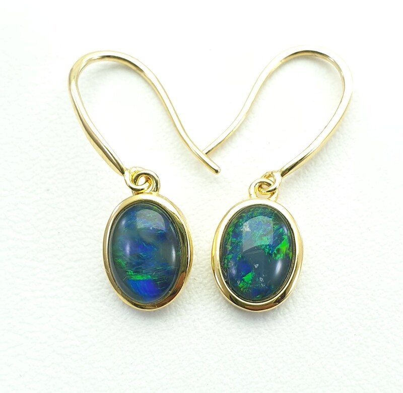 Black Opal Triplet - GP on Silver - Earring