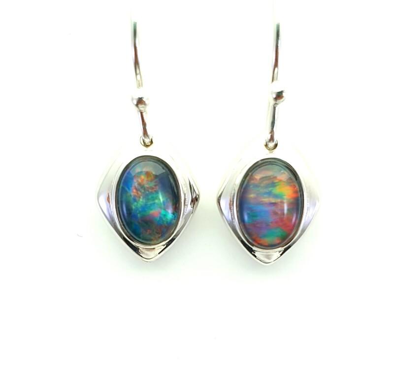 Black Opal Triplet - Rhodium Silver - Earring
