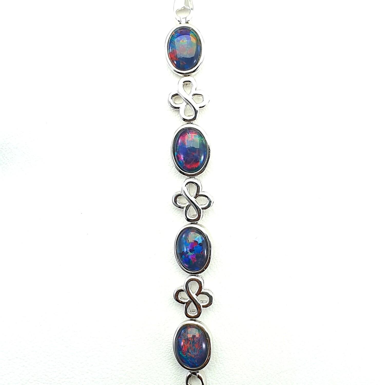 Black Opal Triplet - Rhodium Silver - Bracelet