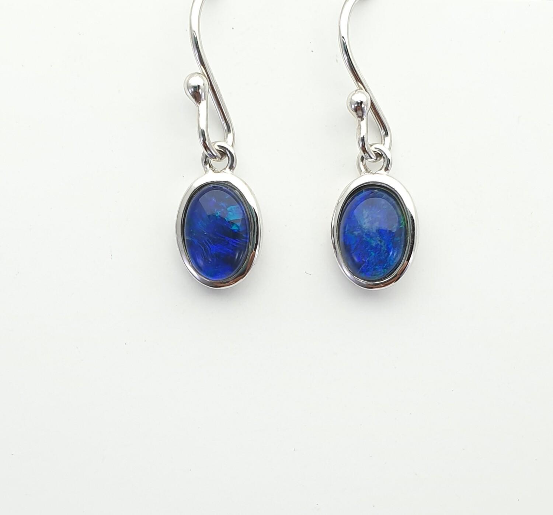 Black Opal Triplet. Rhodium Silver - Earring