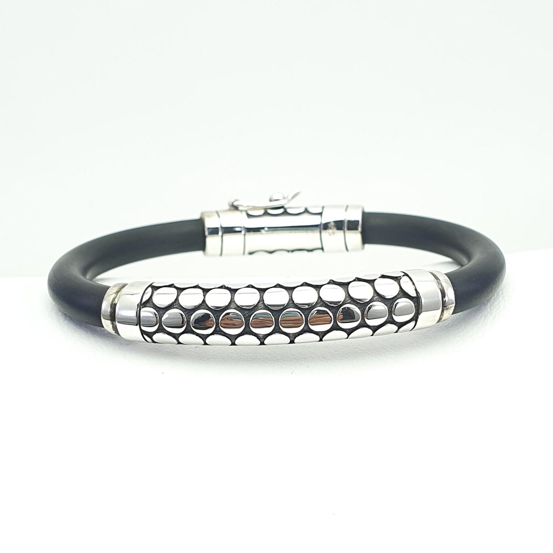 Silver and Neoprene Bracelet