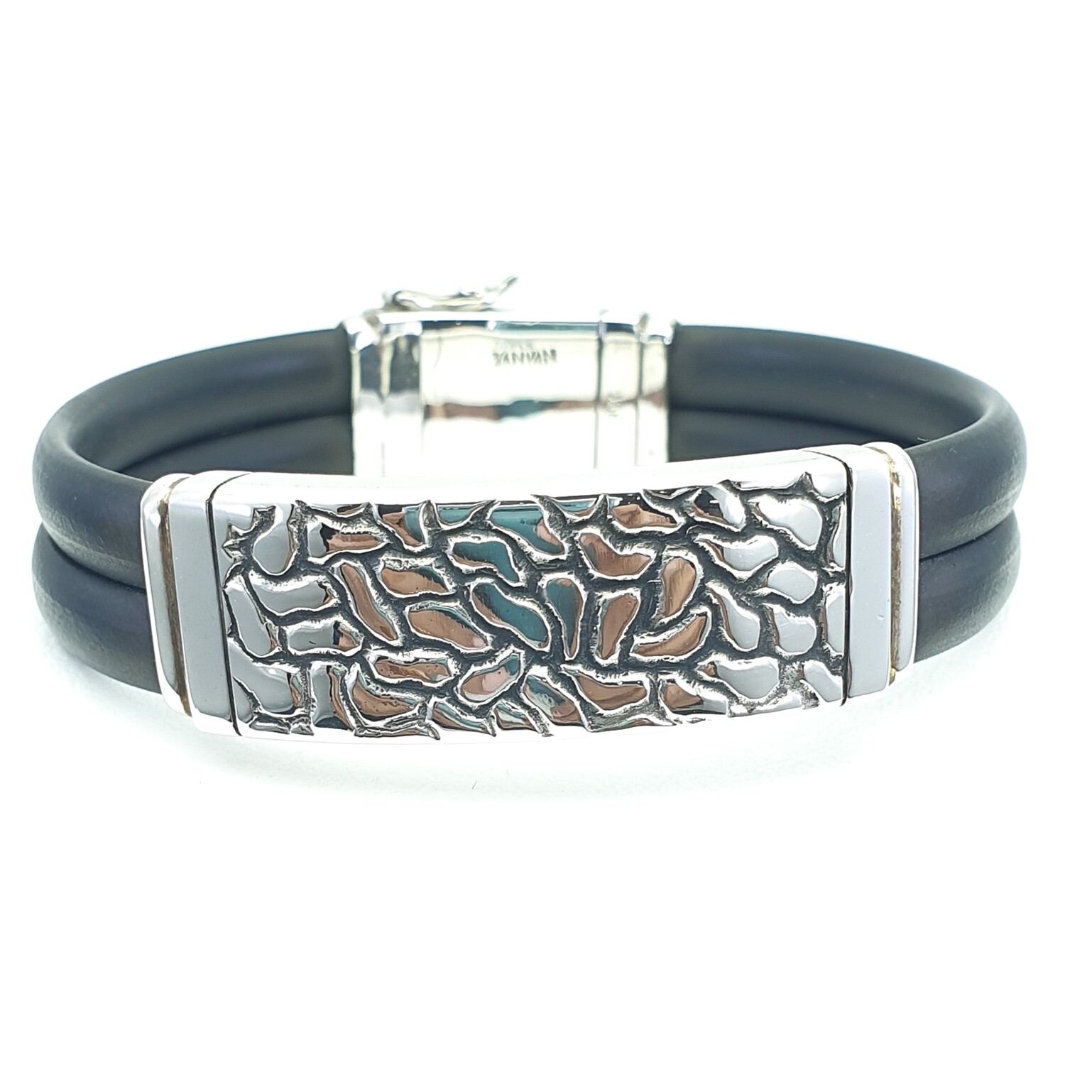 Wide Silver and Neoprene Bracelet