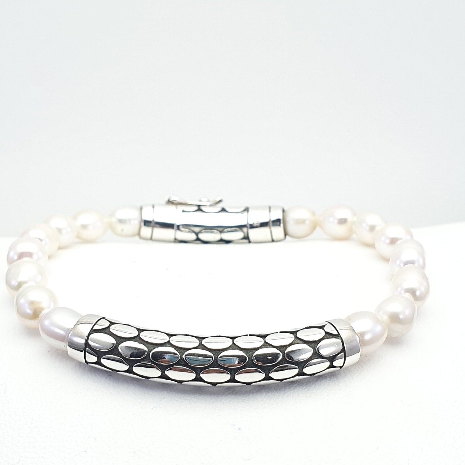 White Pearl and Silver Bracelet