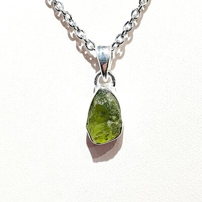 Rough cut Peridot pendant