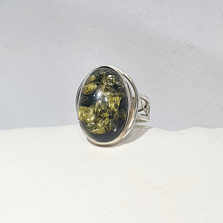 Green Amber Ring