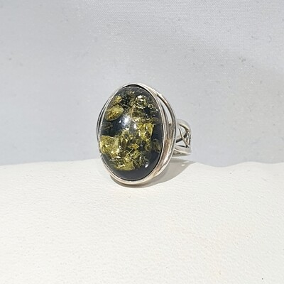 Green Amber Ring