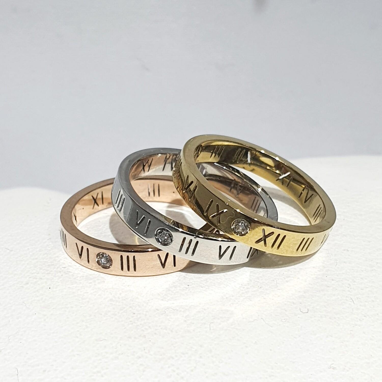Roman Numeral design rings