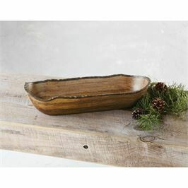 Bark Wood Oval Bowl