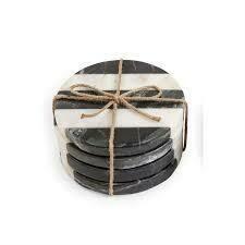 Mud Pie Black White Stripe Coasters