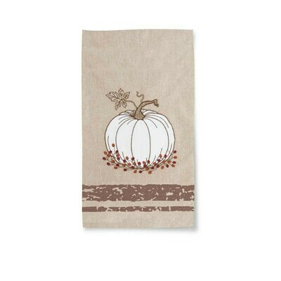 Towel with Embroidered Pumpkin