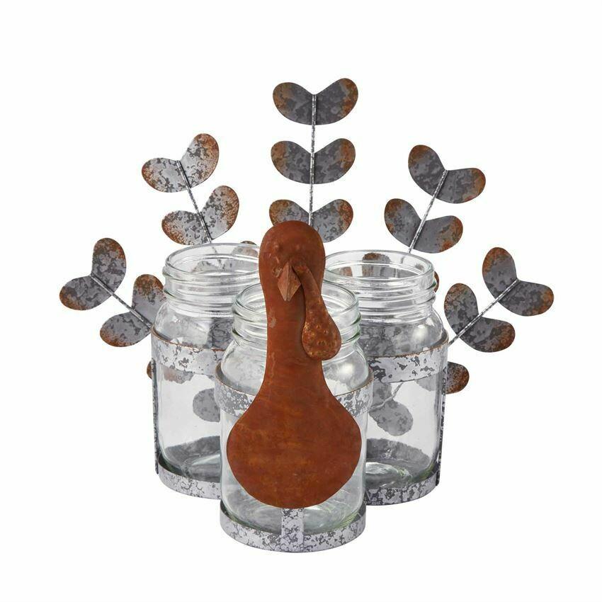 Mud Pie Turkey Glass Jar Caddy