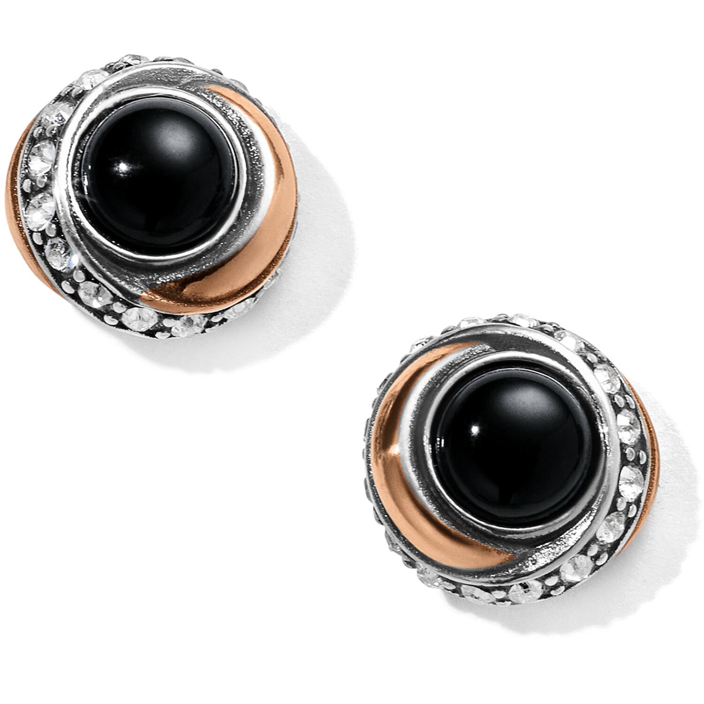 Neptune's Rings Black Agate Button Earrings