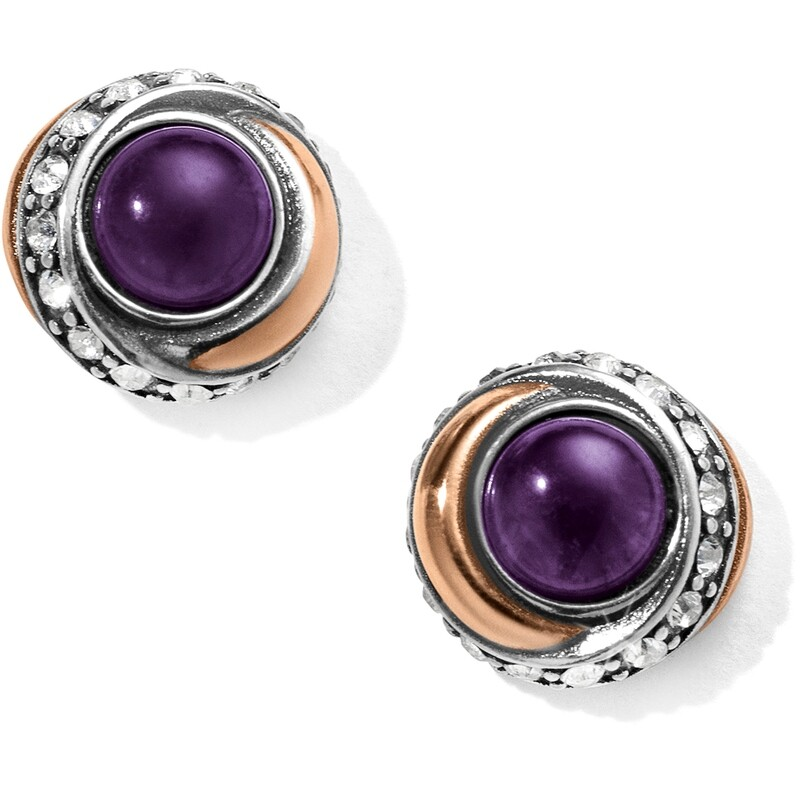 Neptune's Rings Amethyst Button Earrings