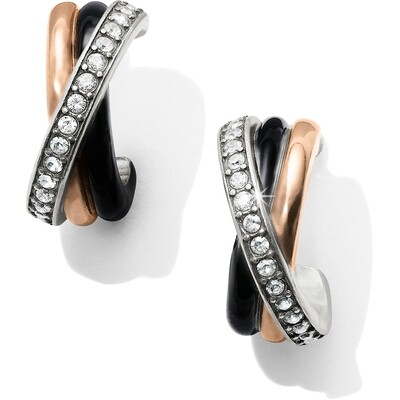 Neptune's Rings Black Post Clip Earrings