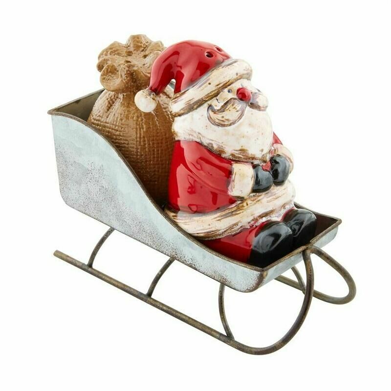 Mud Pie Santa Sleigh Salt and Pepper Shakers