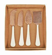 Copper Plated and Enamel Cheese Spreader Set of 4