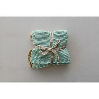 """CC 10.5"""" Sq Knit Washcloths S/2"""