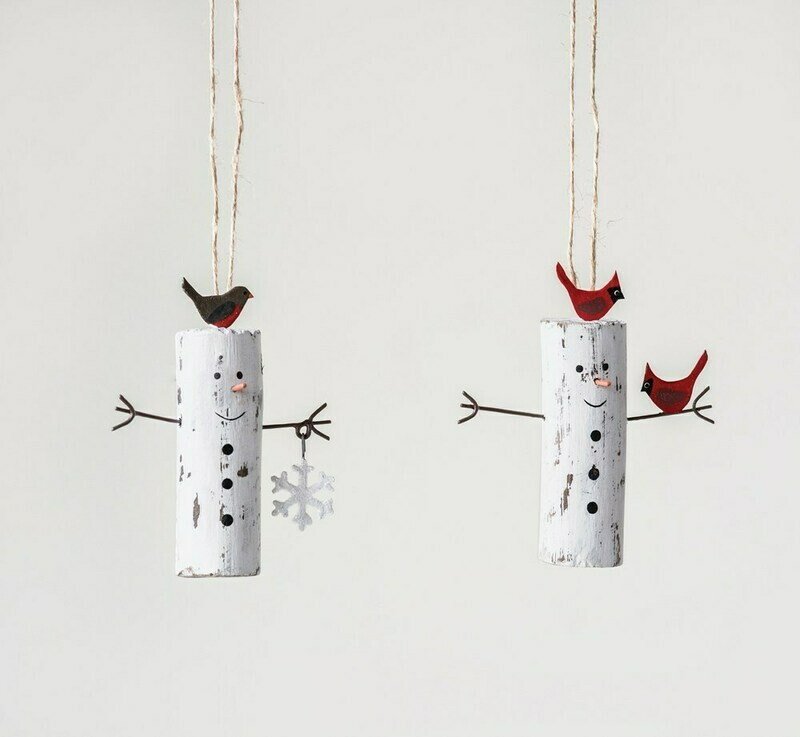 Creative Co-Op Wood Snowman w/ Bird Orna