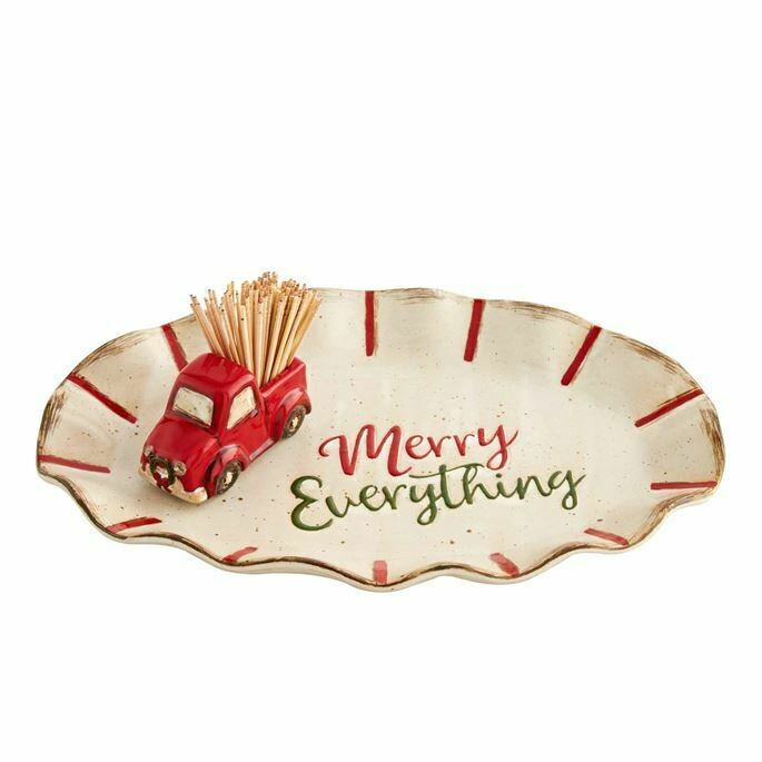 Mud Pie Christmas Toothpick & Truck Plate
