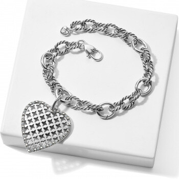 Trellis Heart Link Bracelet