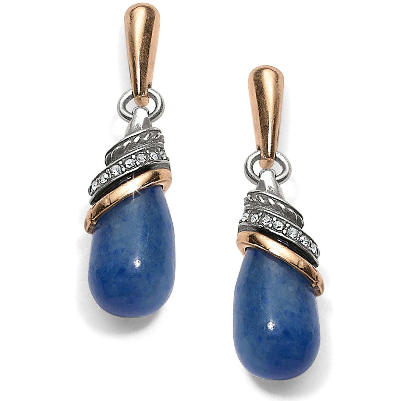BR JA497A Neptune's Rings Blue Quartz Teardrop Earrings