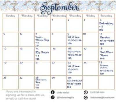September 2021 Classes