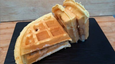 Hk Style Waffle with Condensed Milk & Peanut Butter