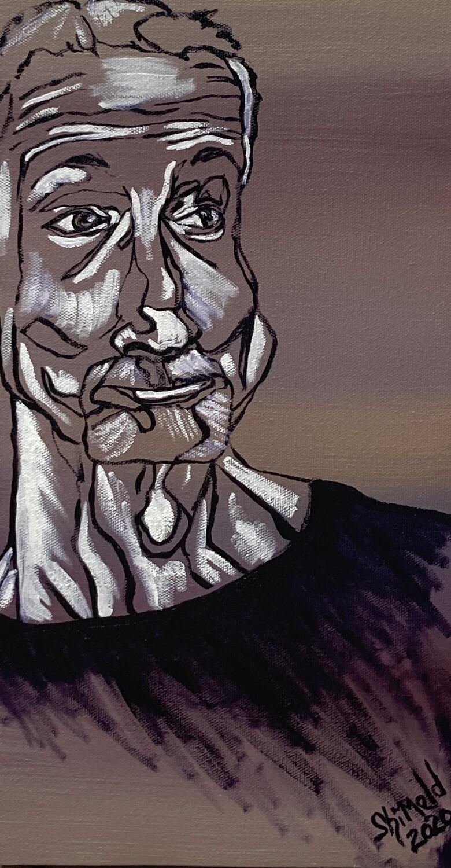 "Smirking Man, Oil on Canvas, 6""x12""x1.5"""