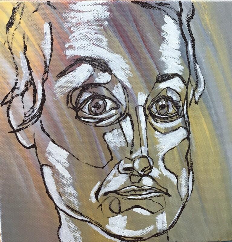 Portrait of Amanda, Oil on Canvas, Original, Blind Contour, 6