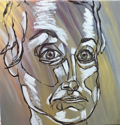 Portrait of Amanda, Oil on Canvas, Original, Blind Contour, 6