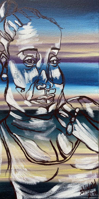 """Portrait of a Woman, Oil on Canvas, Original, Blind Contour, 6""""x12""""x1.5"""""""