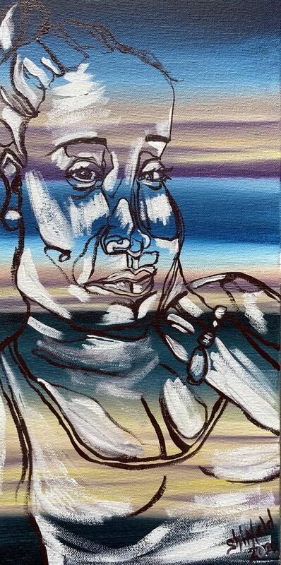 Portrait of a Woman, Oil on Canvas, Original, Blind Contour, 6